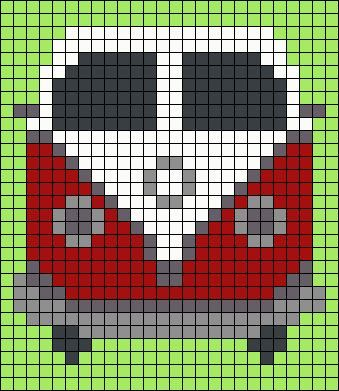 Photo of VW Van Perler pearl pattern. Could use as a starting point for Graphghan -…