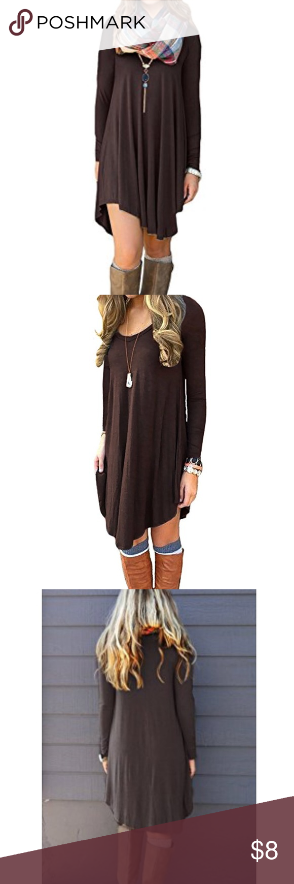 T shirt dress ubrown coffee color ulong sleeve uno flaws ucute utrue