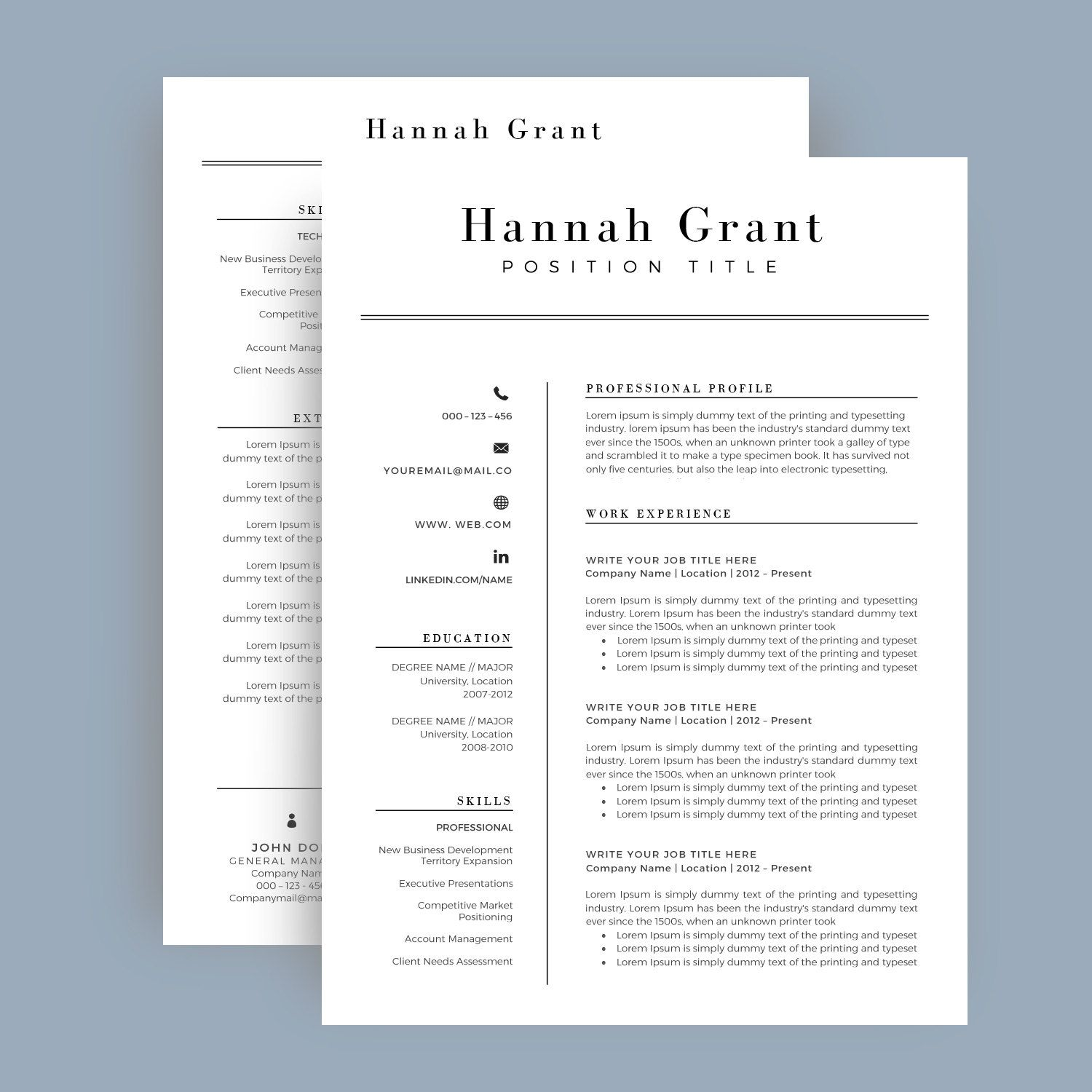 Resume Template  Cv Template For Word Cover By Templatecraft