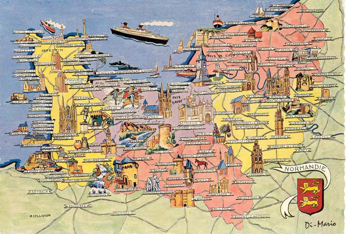 Carte touristique de la normandie r gion normandie for Haute normandie basse normandie