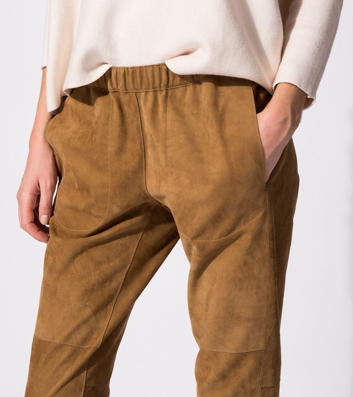 maje PLAISIRA Reversible goatskin leather trousers at Maje US
