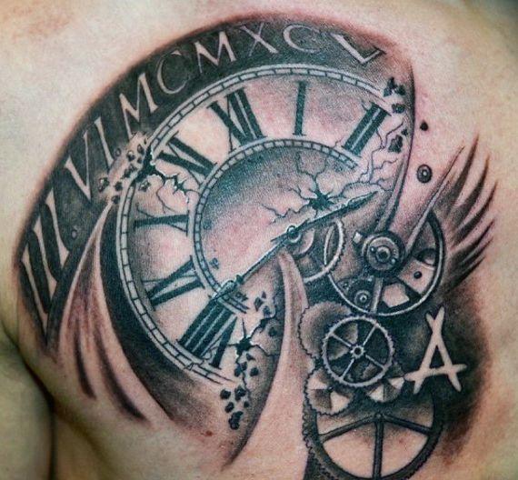 320890cbac0bc Chest Tattoo Clock, Clock Tattoos, Broken Clock Tattoo, Tattoo Sleeve  Designs, Sleeve