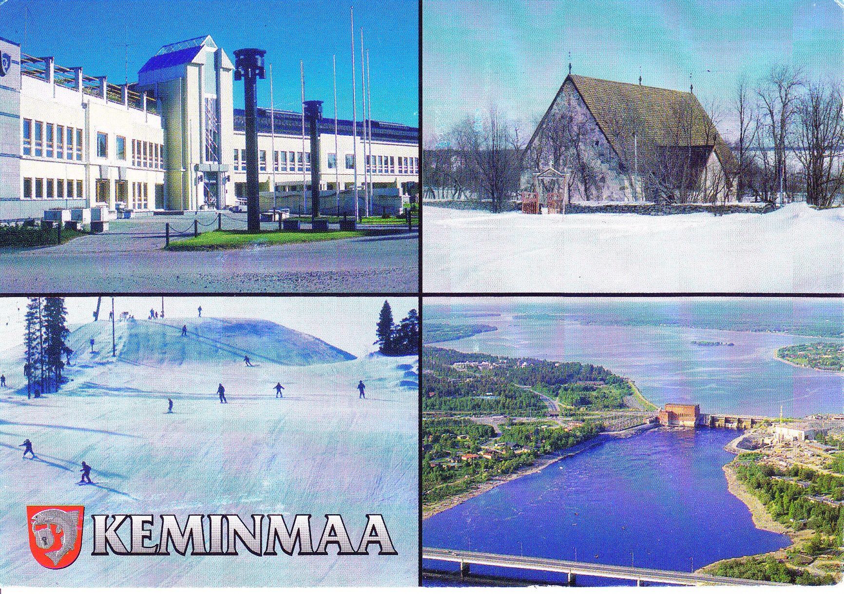 Keeminma. Kunnantalo, Pyhän Mikaelin krkko, Kallin hiihtokeskus, Isohaaran voimalaitos.
