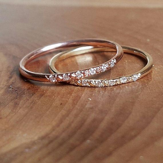 Rose Gold Wedding Band Women 14k Rose Gold Ring Diamond Ring Rose
