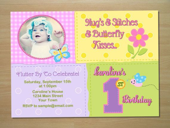 Custom Butterfly 1st Birthday Invitation By SquigglesDesigns 1000