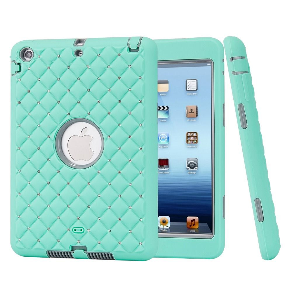 For iPad mini 1/2/3 Retina Case Bling Rhinestone Kids Safe Shockproof Heavy Duty Silicone Hard Case Cover w/Screen Protector+Pen #Affiliate