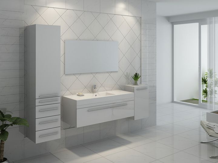 Meuble de salle de bain en bois avec simple vasque coloris Blanc