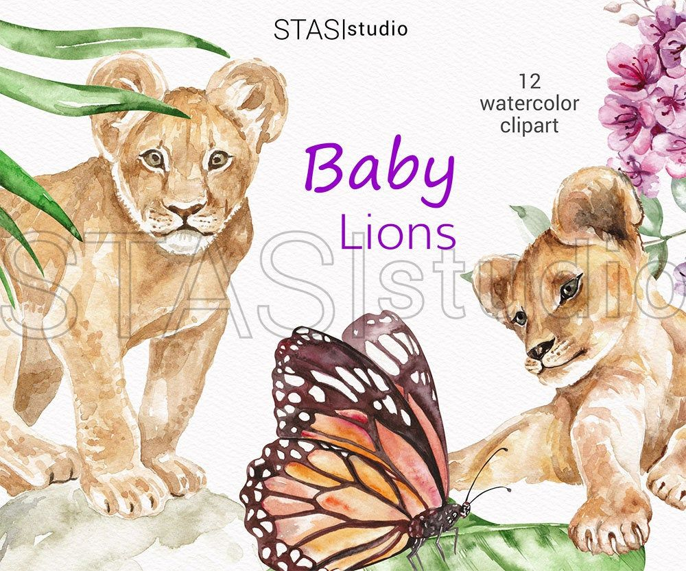 Lions Watercolor Clipart Baby Lions Cute Animals Nursery Illustration Lion Party Invitations Lion Pride Lion Family In 2020 Animal Nursery Illustration Nursery Illustration Watercolor Clipart