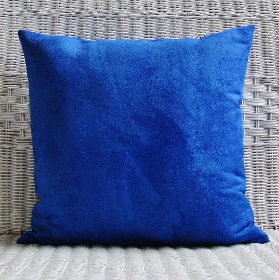 Suede pillows, Blue throw pillows