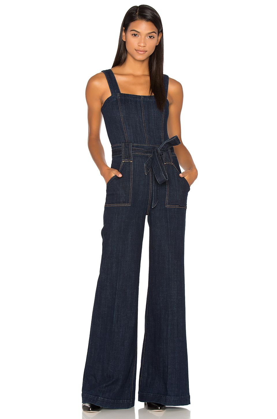 7 For All Mankind Palazzo Jumpsuit in Dark Sky Broken Twill | REVOLVE