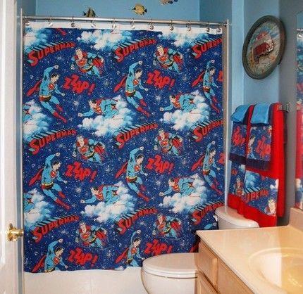 Bathroom Set Made with Vintage Superman Bed Sheet 18000 via Etsy
