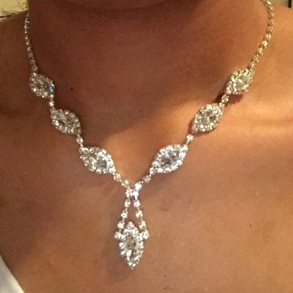 Silver Necklace Set This Comes With Earrings And Bracelet Never Worn So Great Condition Perfect For Prom Jewelry