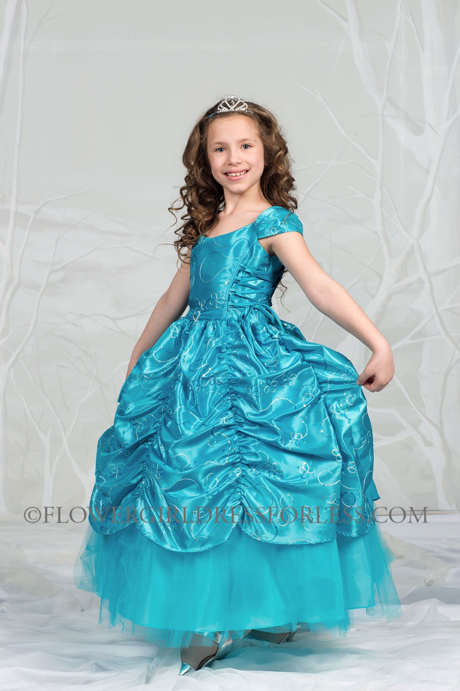 Girls Dress Style 596 - TURQUOISE Short Sleeve Satin Dress with ...