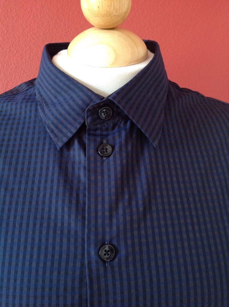 ARMANI COLLEZIONI Current! Men's Navy Blue Gingham Cotton Shirt Size L MINT! #ArmaniCollezioni #ButtonFront
