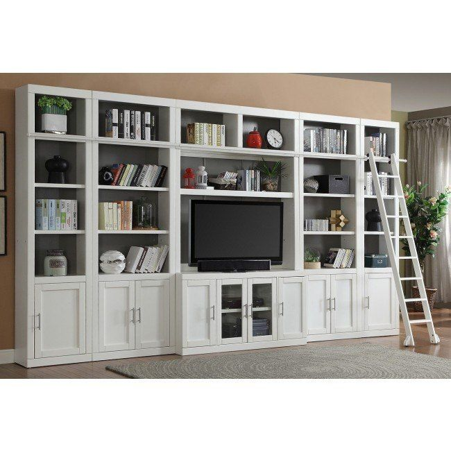 Catalina Large Modular Entertainment Wall is part of Large Living Room Shelves - Add functional storage space to your family room, library or home office with the transitional style of the Catalina Collection by Parker House  The transitional style in Cottage White finish has the look of a custom builtin  Made of Poplar solids and Birch veneers, this fully modular collection is great for any home!