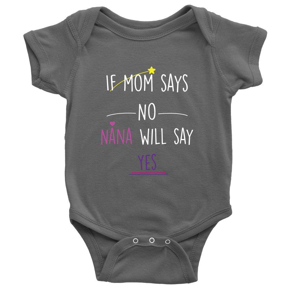 "Cute Funny Newborn Baby Girl Onesies Sayings ""If mom says no"