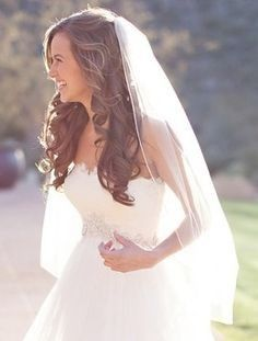 Elegant wedding hair half up half down with veil #wedding #long hair – #elegant …