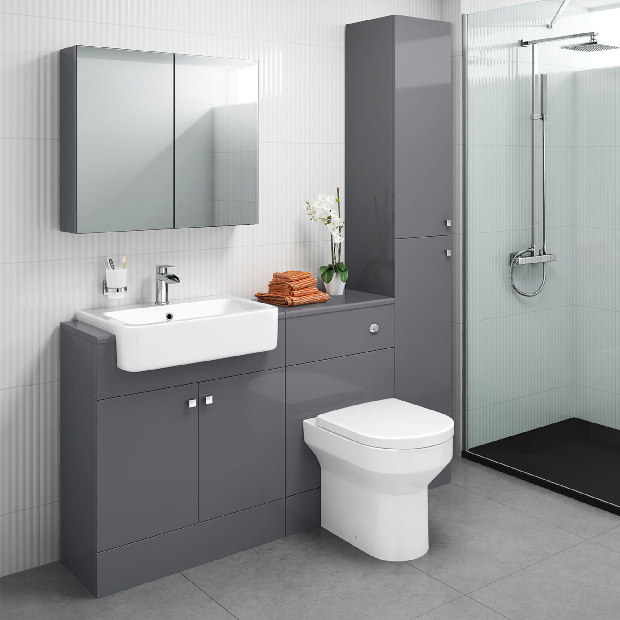 1500mm Harper Gloss Grey Combined Vanity Unit Tall Unit Cesar Iii Pan Toilet And Sink Unit Toilet Vanity Unit Vanity Units