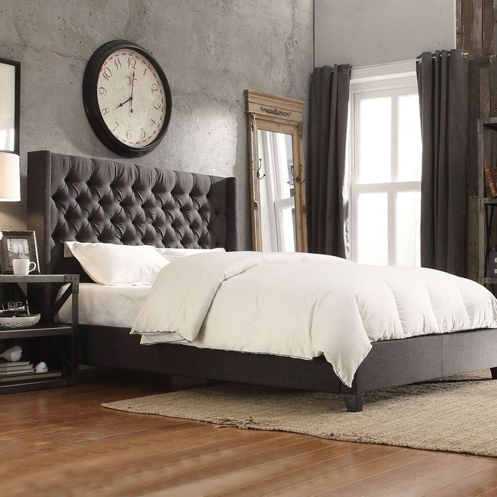 Inspire q naples dark gray linen wingback button tufted for Bedroom ideas grey bed