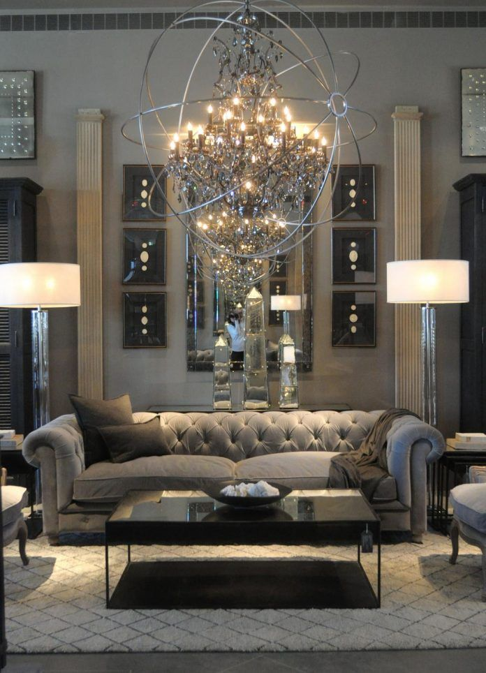 Black and Silver Living Room Interior