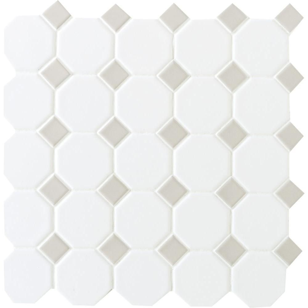 Daltile Prologue Matte White 12 In X 12 In X 6 Mm Glazed Ceramic Octagon Dot Mosaic Floor And Wall Tile 1 Sq Ft Piece Pr922oct44hd1p2 The Home Depot Daltile Mosaic Flooring Ceramic Mosaic Tile