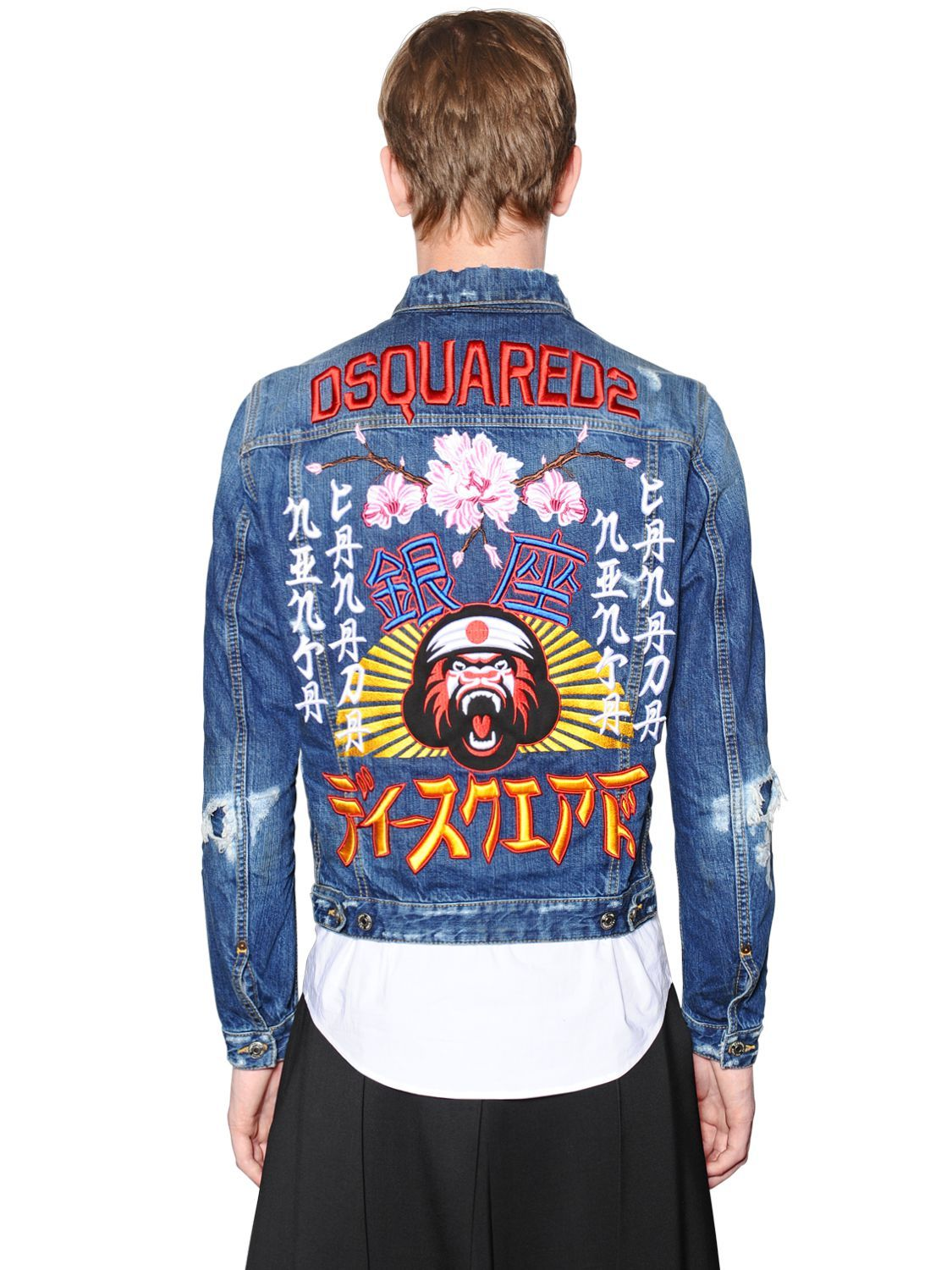 0f2958ed110 DSquared² | Blue Japan Embroidery Distressed Denim Jacket for Men | Lyst