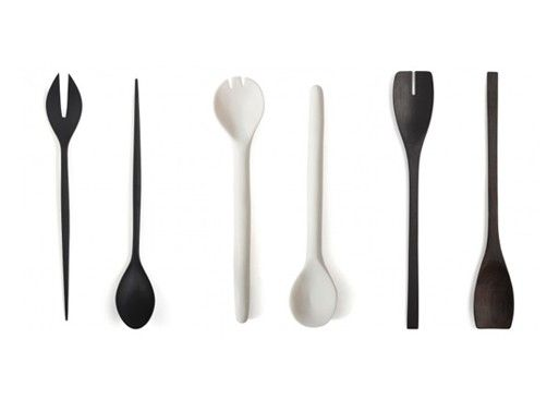 black and white salad servers