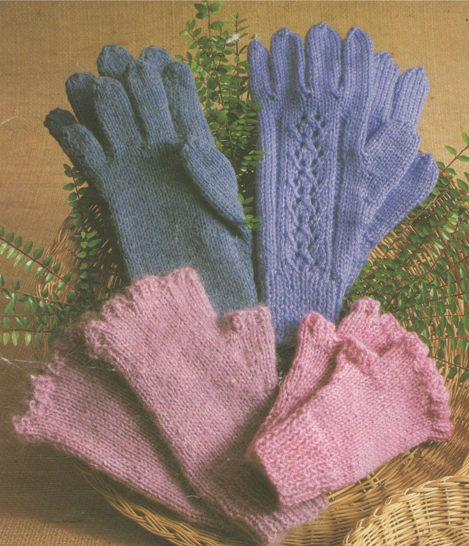 PDF Gloves & Fingerless Gloves Knitting Pattern : Small . Medium . Large . DK Yarn Pattern . Instant Digital Download by PDFKnittingCrochet on Etsy