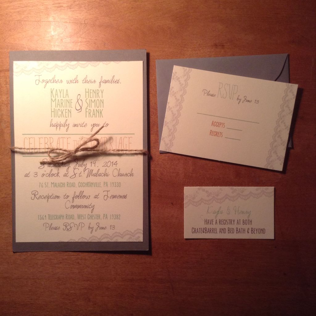 Wedding Invitation Rsvp Card Registry Information