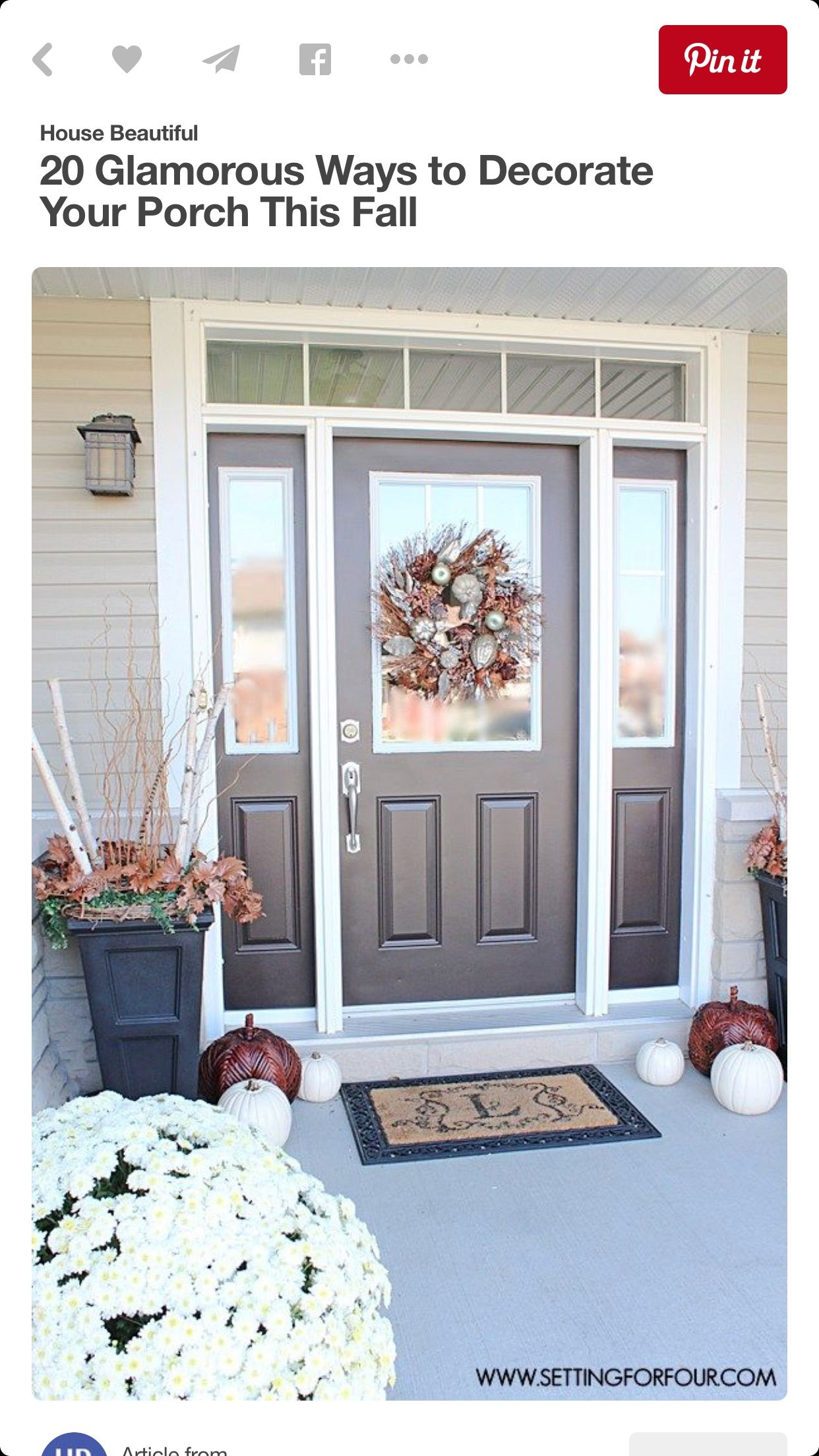 Pin By Preferred Home Partners On Doors Fall Entryway Decor Autumn Home Painted Front Doors