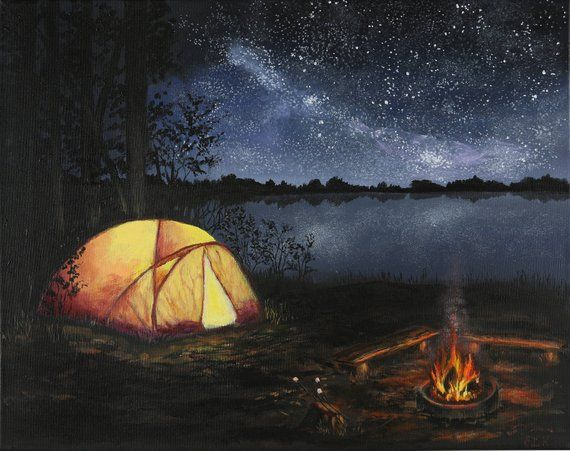 Plum Lake, Wisconsin State Parks, Camping Painting, Night ...