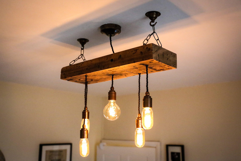 Reclaimed Wooden Beam Chandelier Ceiling Barn Light Pendant