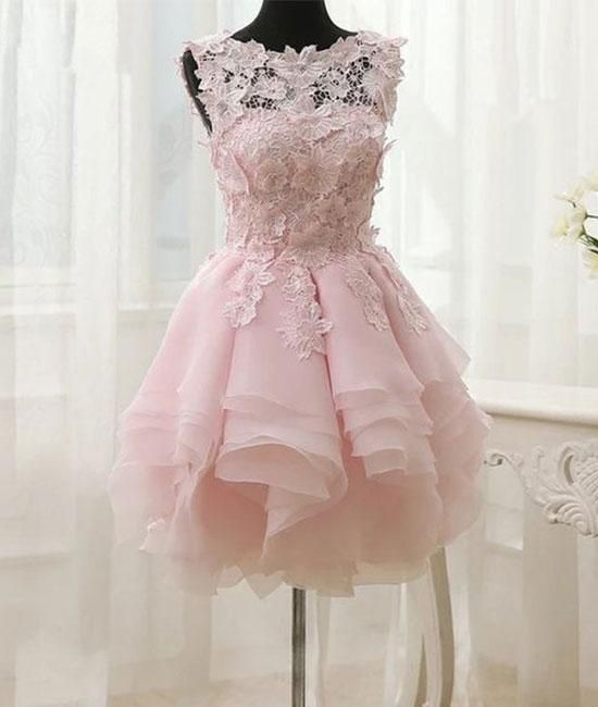 b11408f8c9d Pink lace short prom dress. pink homecoming dress