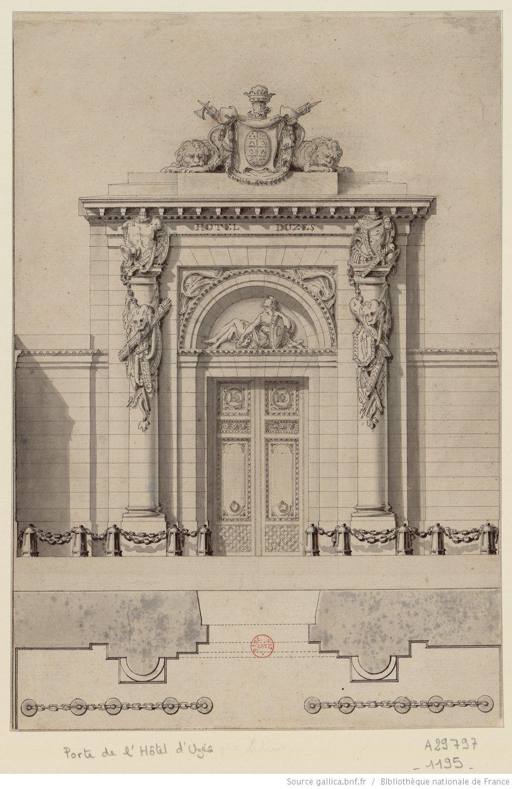 Elevation D Un Plan Archi : Ledoux plan et élévation de la porte l hôtel d uzès