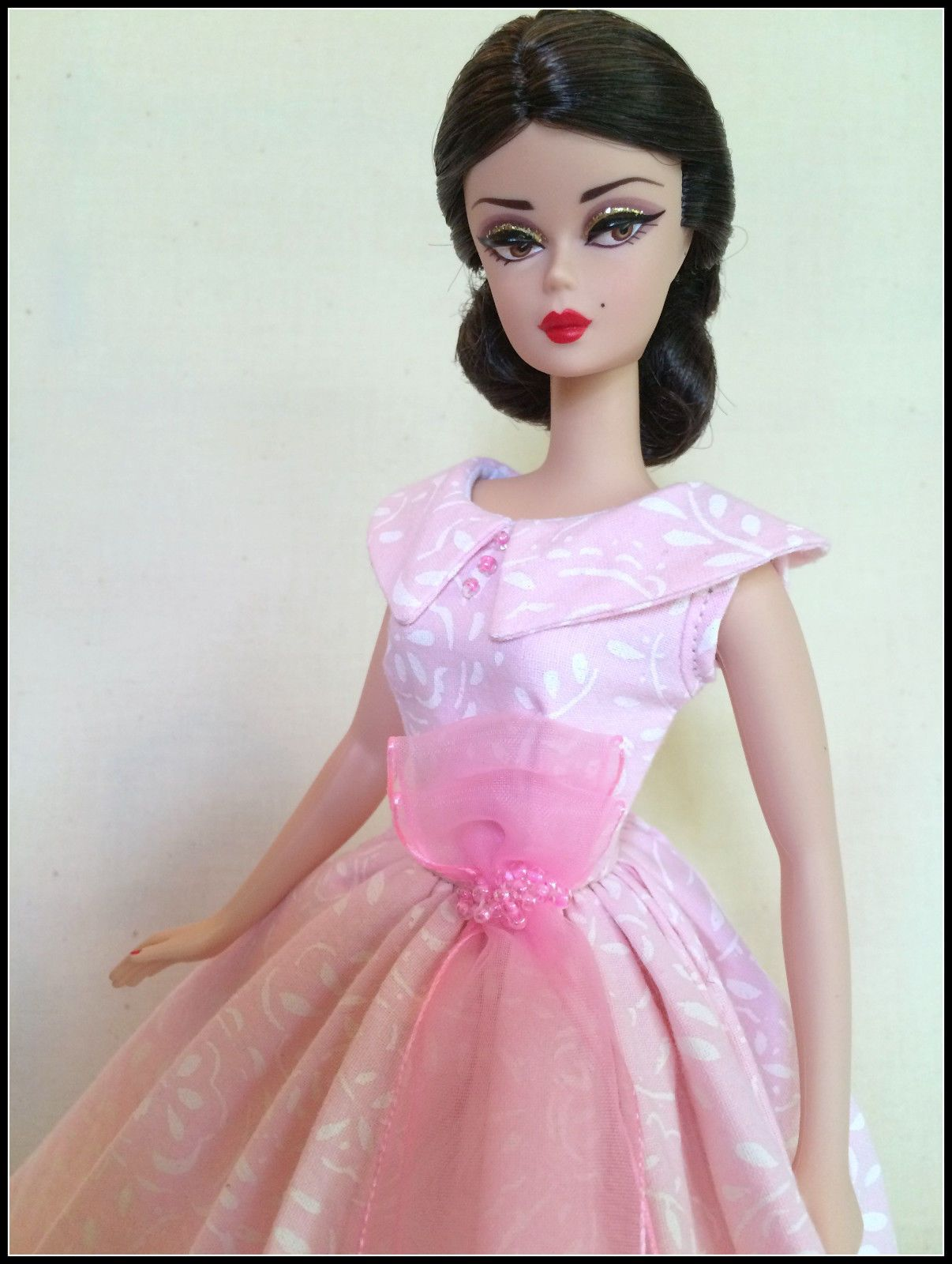 Handmade Dress For Silkstone Barbie By ~GINA~*Pastel Pink and White ...