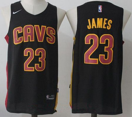 best cheap cbb9d 00d00 Men's Cleveland Cavaliers #23 LeBron James Black 2017-2018 ...