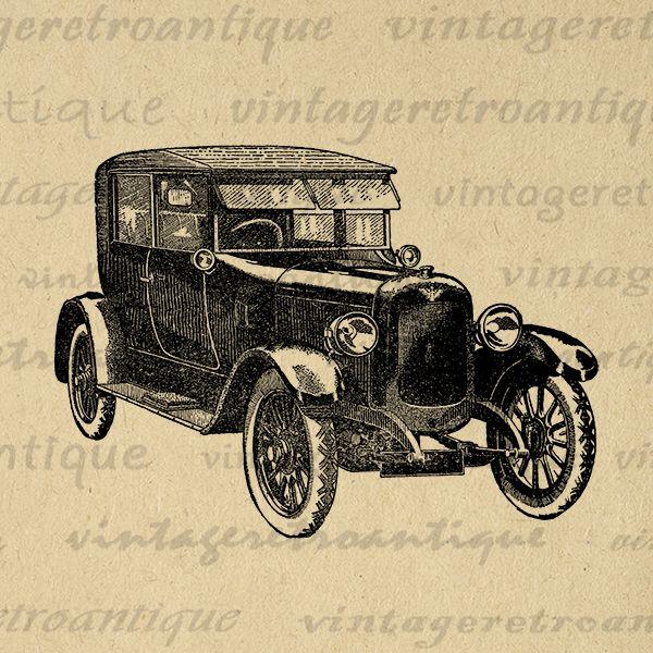 Printable Digital Antique Car Graphic Vintage Car Download ...