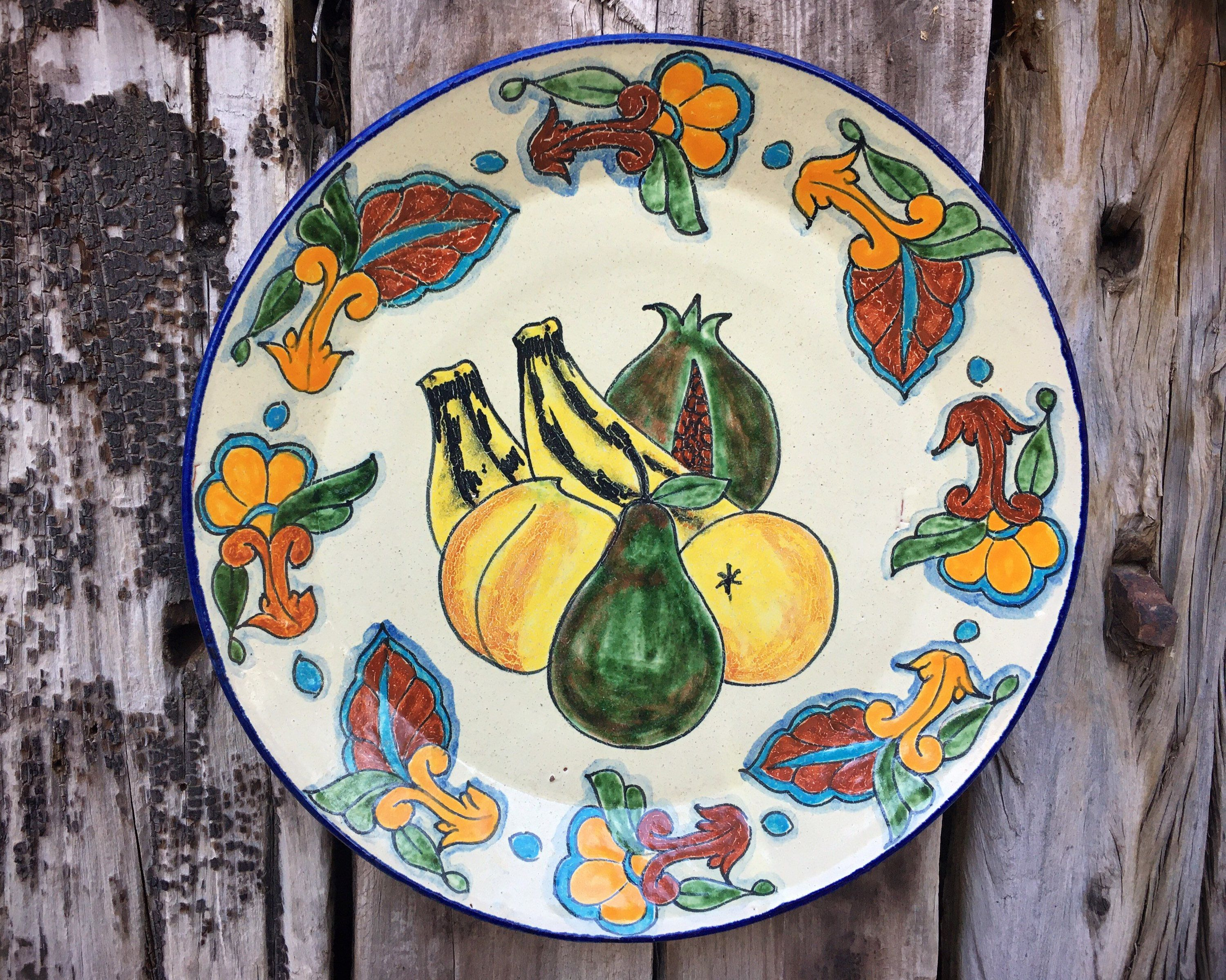 Talavera Plate Wall Hanging With Fruit Design Mexican Pottery Folk Art Rustic Southwestern Home In 2020 Mexican Pottery Talavera Plates On Wall