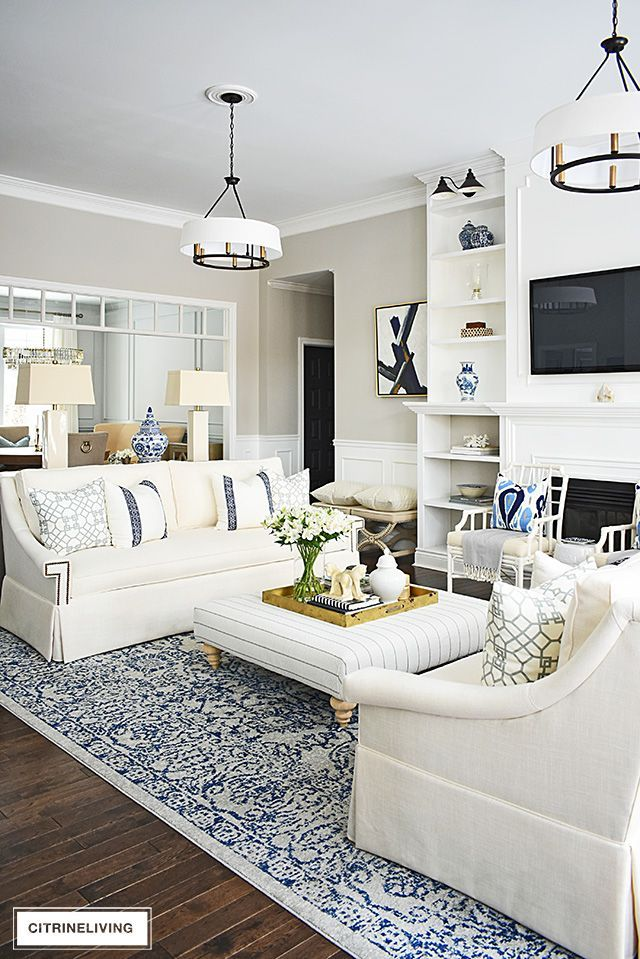 Photo of OUR LIVING ROOM REVEAL WITH NEW WHITE SOFAS FROM PERIGOLD ,  #brightlivingroom #Living #PERIG…