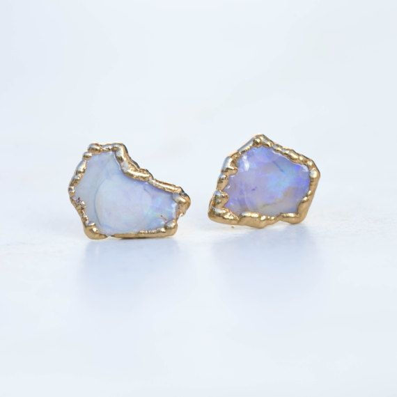 A Raw Opal Earring Stud Set With Pee Textured Bezel These Rough Earrings