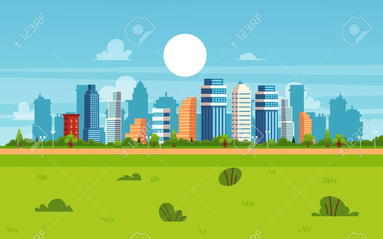 Cartoon City Landscape On Summer Day Modern Flat Cityscape Banner With Skyscraper Buildings And Green Park Wit Urban Architecture City Cartoon City Landscape
