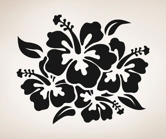 Vinyl Wall Decal Sticker Hibiscus Flowers Osaa238s For