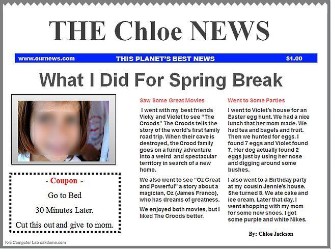 Students can create their own newspaper title, Technology LP - newspaper templates for kids