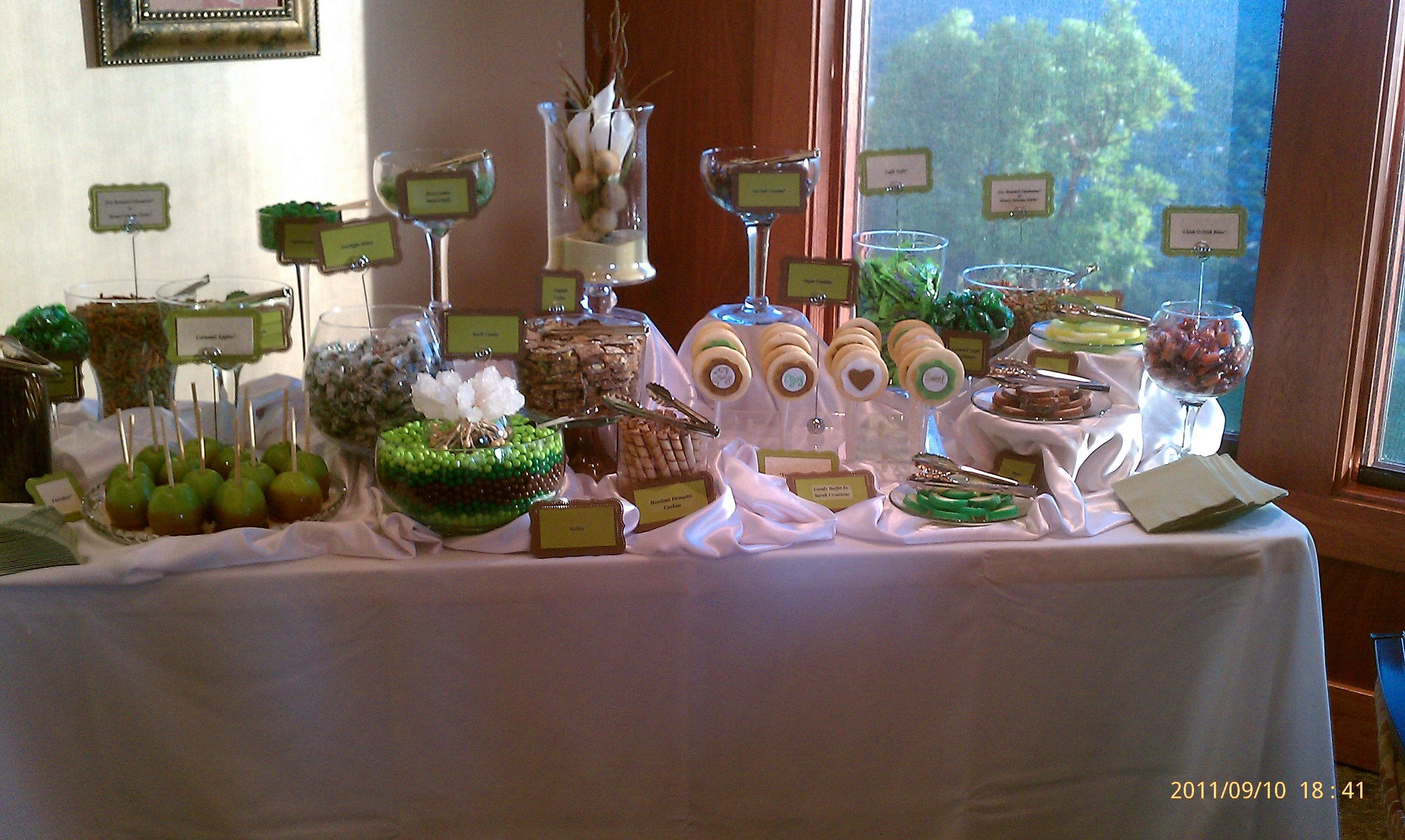 Brown and green candy buffet with vegan options green