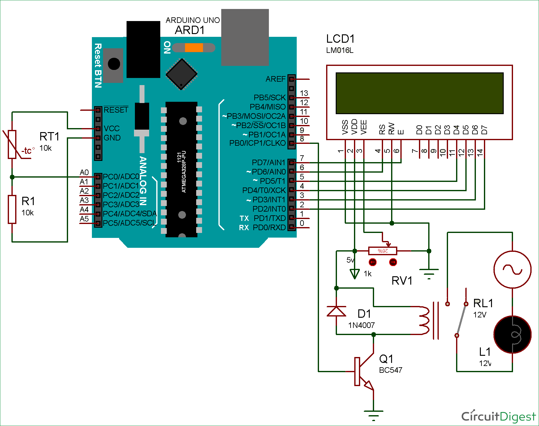 Circuit Diagram To Control Relay Using Arduino Based On Temperature Shows The Required 8051 Microcontroller