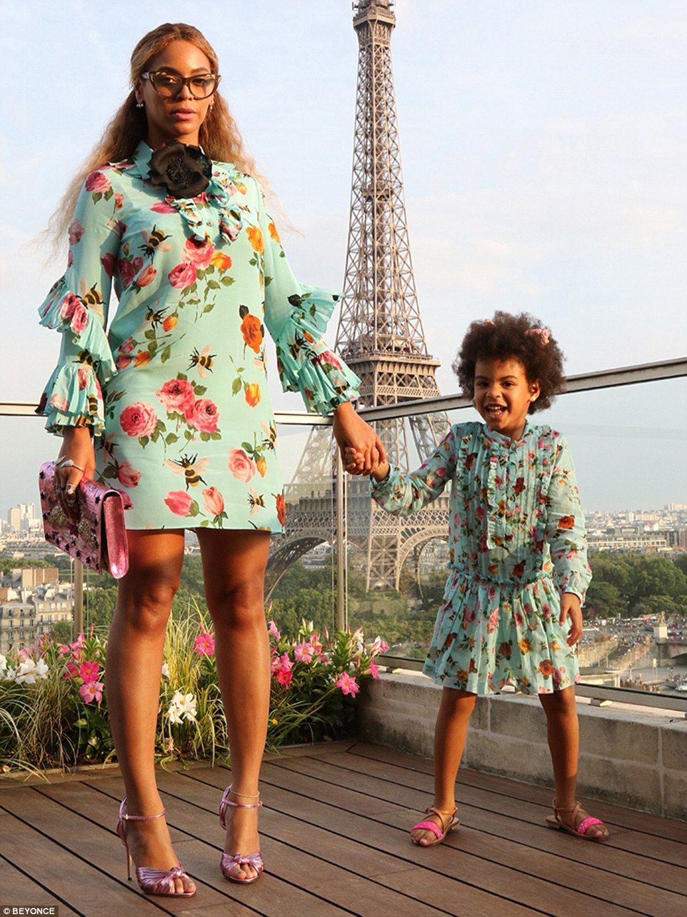 bd30585bee Peppy in Paris  Beyonce and her spirited daughter Blue Ivy posed on the  terrace of their Paris lodgings that overlooked the Eiffel Tower in Paris