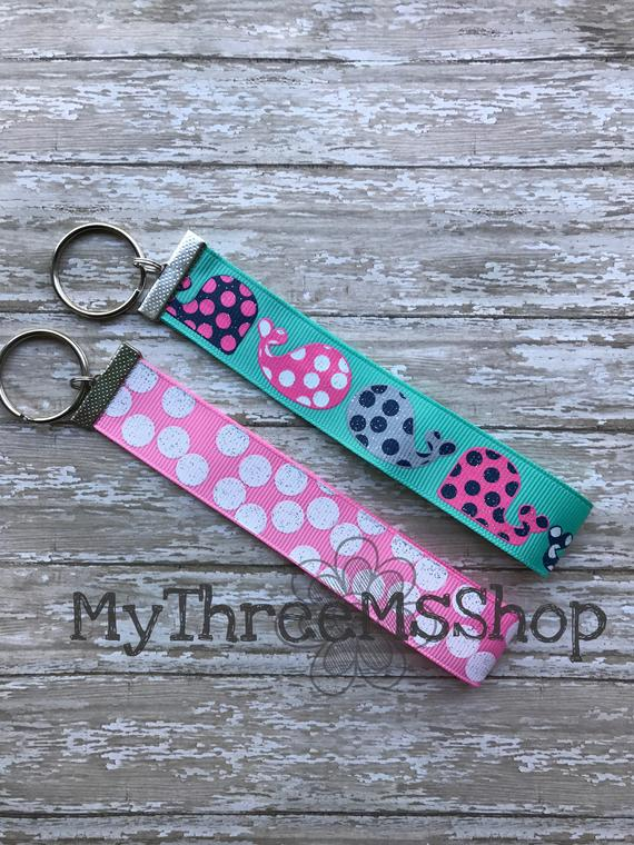 Whale Keychain Glitter Ribbon Fob Keychain Dot Key Holder Key Ring Sparkle Keychain Glitter Par Gifts For Coworkers Glitter Ribbon Fobs