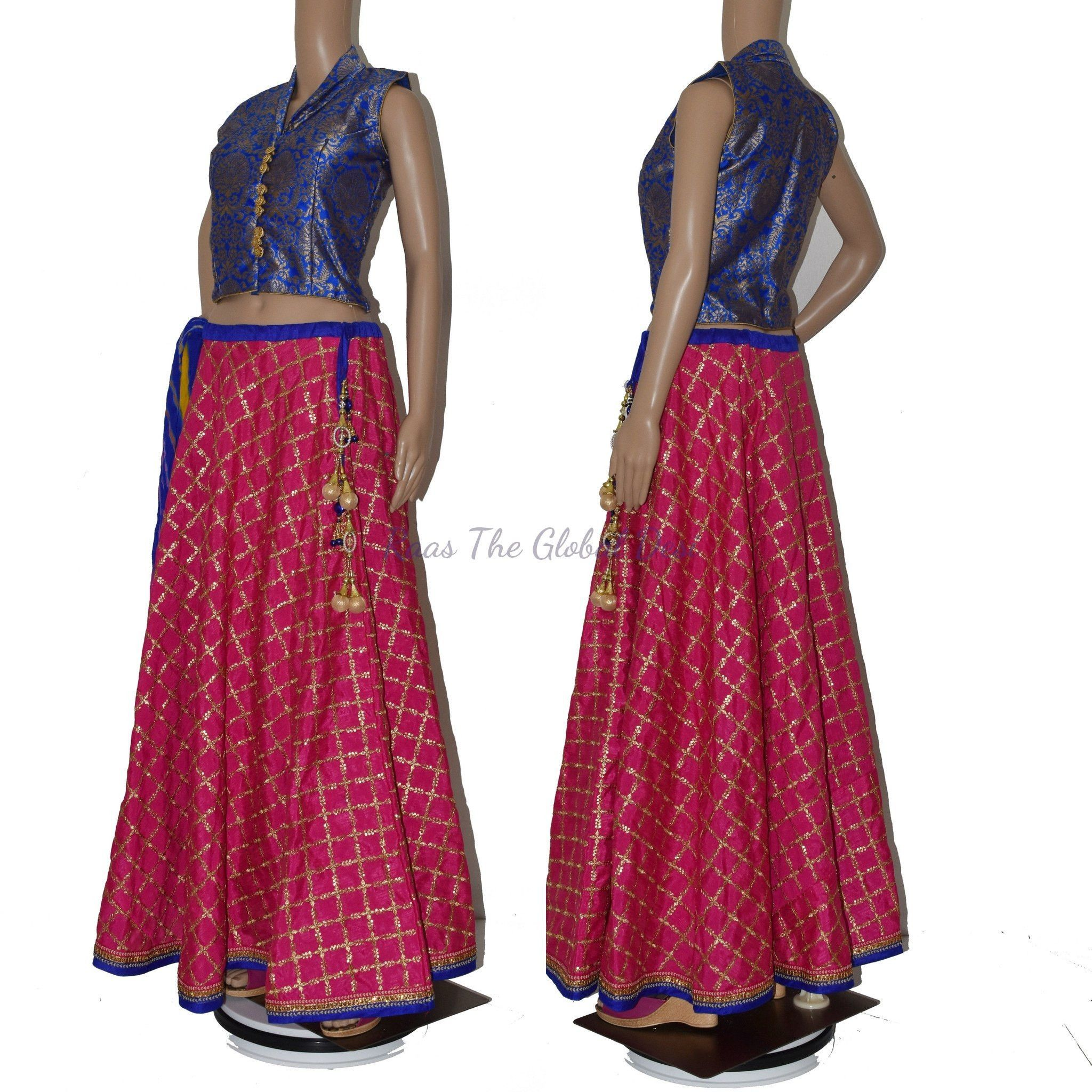 CC1258. SILK CROPTOP & SKIRT WITH ALLOVER EMBROIDERY AND DUPATTA