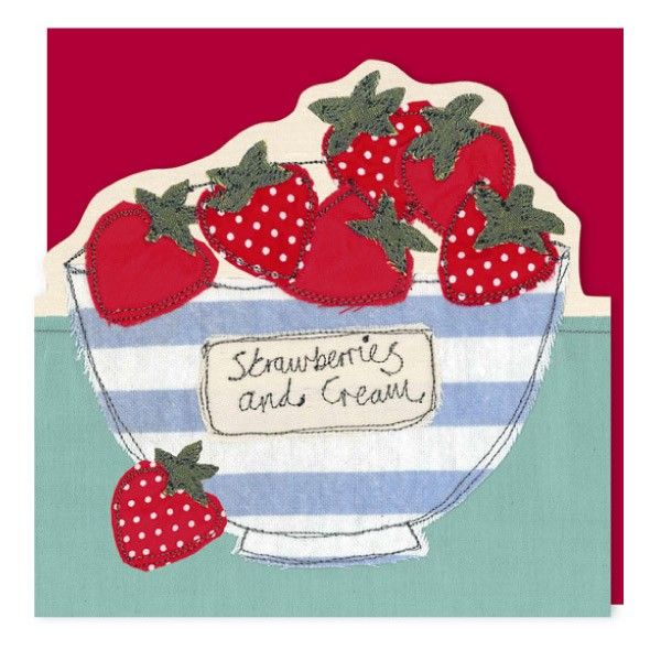 Strawberry applique and free motion embroidery by poppy treffry