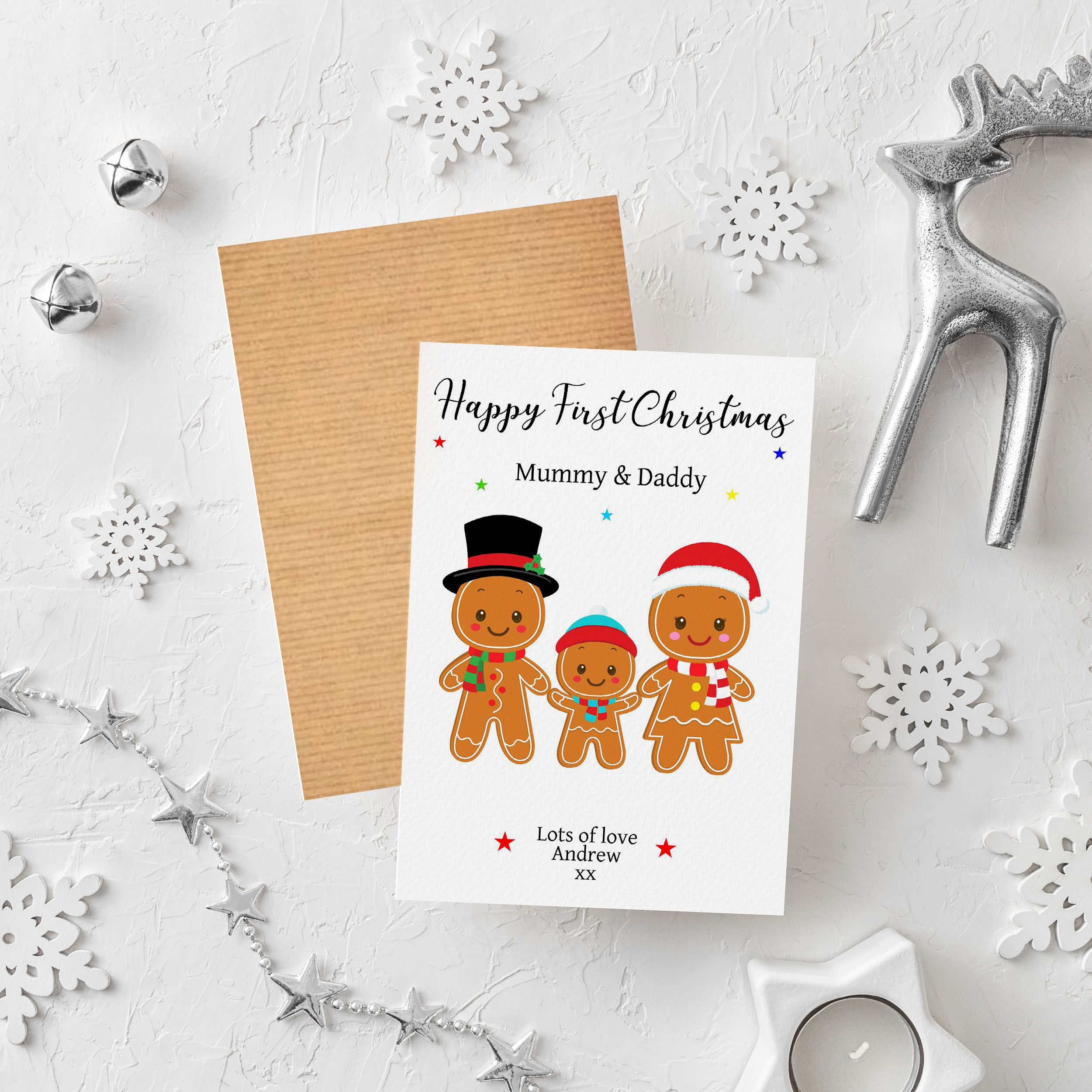 Personalised 1st First Christmas as Mummy /& Daddy Card Grandparents baby/'s 1st